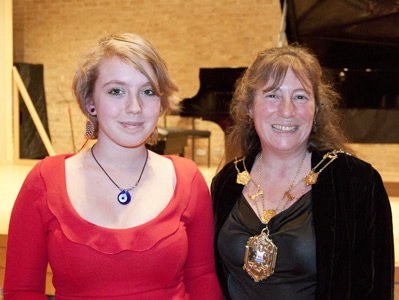 Cassandra Mathews (left) with Lord Mayor, Councillor Elise Benjamin